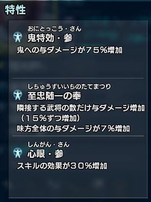 石田三成の特性構成